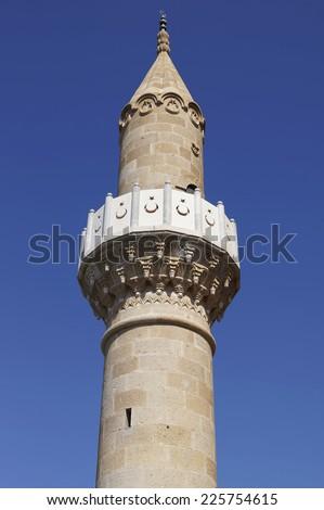 Minaret in St Peter's castle in Bodrum, Turkey - stock photo