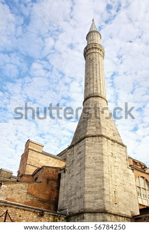 Minaret of Hagia Sophia built by Ottomans - stock photo