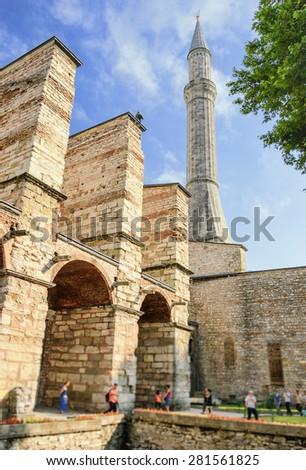 Minaret of Hagia Sophia, one of the entrances inside, Istanbul, Turkey. - stock photo