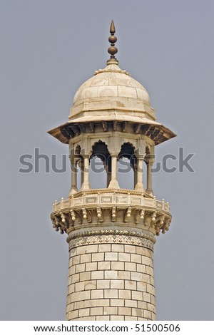 Minaret of Taj Mahal in Agra, India - stock photo