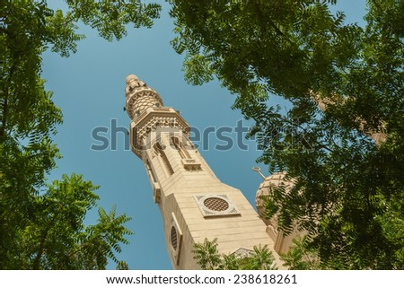 Minaret of the Mosque Jumeirah in Dubai, UAE. - stock photo