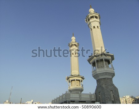 Minarets of 'bab al Fath' (Door of Fath) at Haram Mosque, in Mecca city, Saudi Arabia. There are four main doors entering Haram Mosque. - stock photo