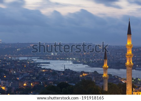 Minarets of Suleymaniye Mosque and view of golden horn at twilight Istanbul, Turkey