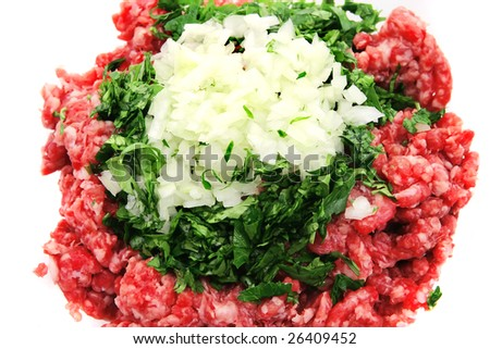 mince beef close up  top view - stock photo