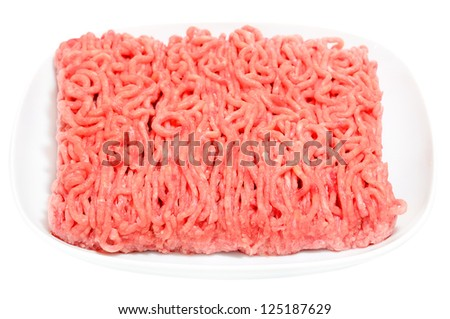 Mince meat on a plate isolated on white background