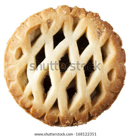 Mince pie from above isolated on white. - stock photo