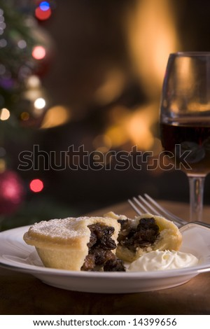 Mince Pie with Brandy cream and a Glass of Sherry - stock photo