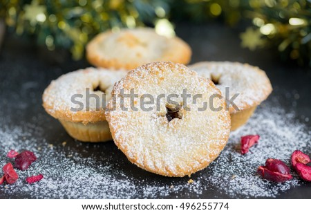 Mince pies on a slate plate with christmas decoration & Mince Pies On Slate Plate Christmas Stock Photo (Royalty Free ...
