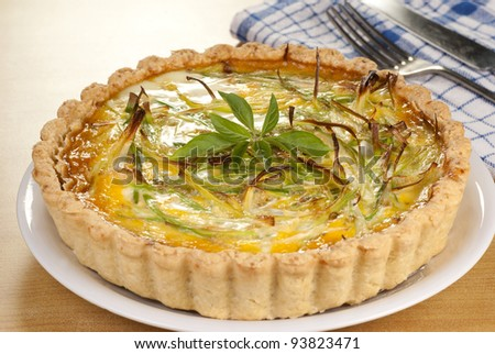 Minced Beef and Leek Quiche. Unsharpened file - stock photo