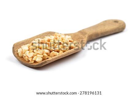 Minced hazelnuts on shovel - stock photo
