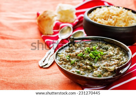 minced lamb, cooked with spinach on a orange background. tinting. selective focus on green onions - stock photo