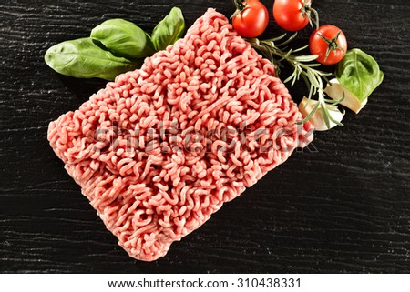 minced meat and black space  - stock photo