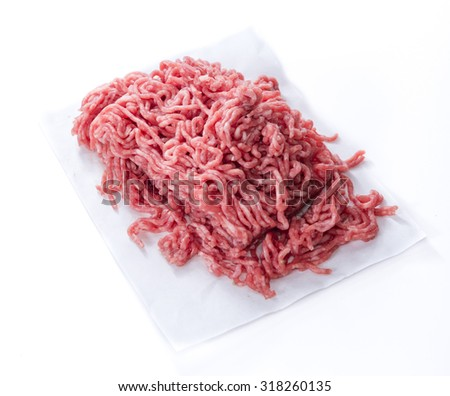 Minced Meat (close-up shot) isolated on white background