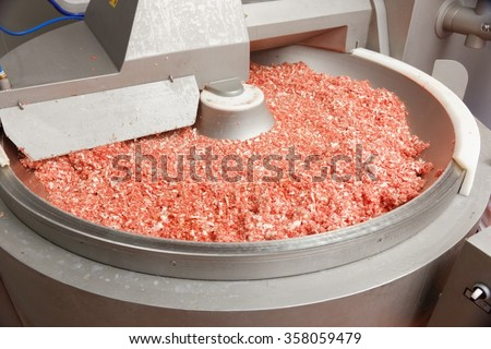 minced meat in big factory bowl - stock photo