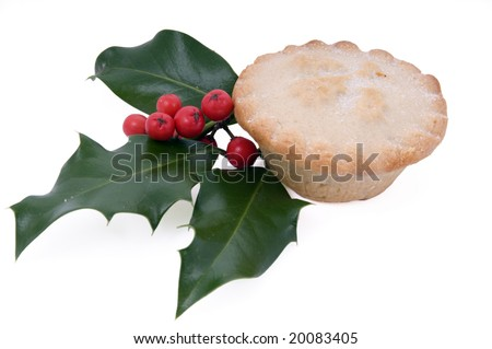 minced pie with holly isolated on white - stock photo