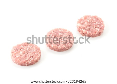 minced pork on white background - stock photo