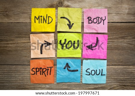 mind, body, spirit, soul and you - balance or wellbeing concept - handwriting on colorful sticky notes against grained wood - stock photo