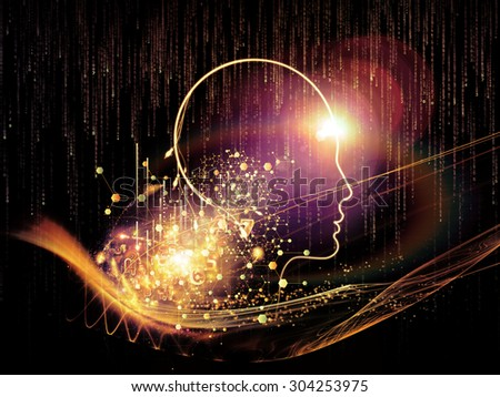 Mind Connection series. Arrangement of human profile, connections and numbers on the subject of information technology, internet and artificial intelligence - stock photo