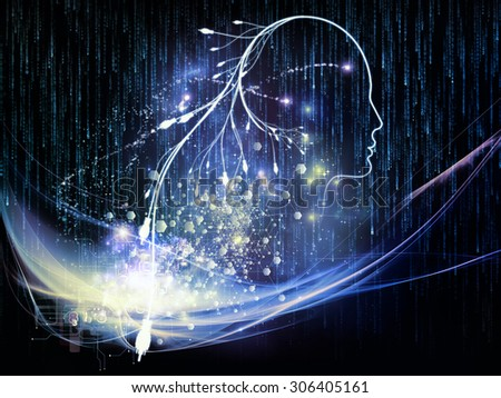 Mind Connection series. Design composed of human profile, connections and numbers as a metaphor on the subject of information technology, internet and artificial intelligence - stock photo