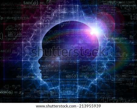 Mind Geometry series. Backdrop of  Human profile, math and design elements to complement your design on the subject of reason, science, technology and education