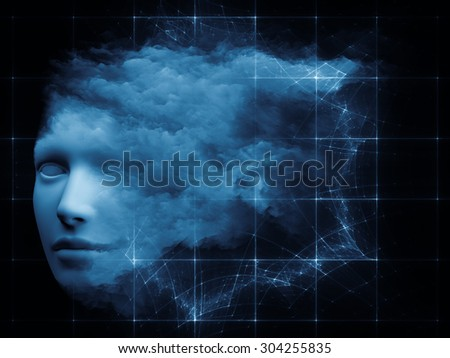 Mind Grid series. Artistic background made of human head and fractal colors for use with projects on mind, dreams, thinking, consciousness and imagination - stock photo