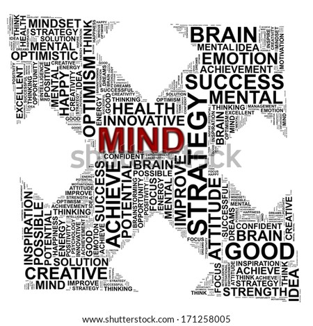MIND info-text graphics and arrangement concept (word clouds) on white background - stock photo