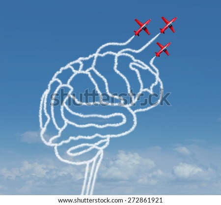 Mind possibility or thinking possibilities concept as a group of air show acrobatic air planes flying in the sky creating a human brain shape with smoke as a business success icon or learning symbol. - stock photo