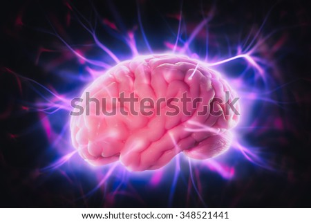 mind power concept with human brain and light rays - stock photo