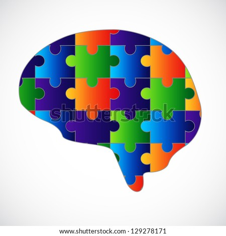 Mind puzzle. Raster version of the loaded vector - stock photo