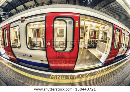 Mind the Gap in London Underground. - stock photo