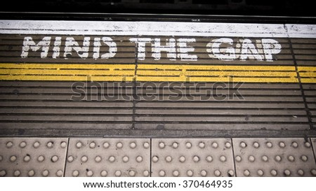 Mind the Gap London Subway - stock photo
