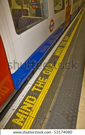Mind the gap, London tube - stock photo