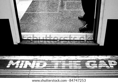 mind the gap signal in subway - stock photo