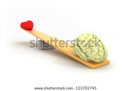Mind vs heart - stock photo