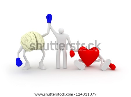Mind win fight with heart. - stock photo