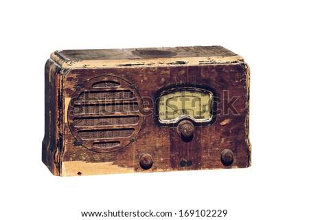 MINDEMOYA, ONTARIO, CANADA-October 8, 2010:Photo of an antique RCA VICTOR radio, isolated on white. - stock photo