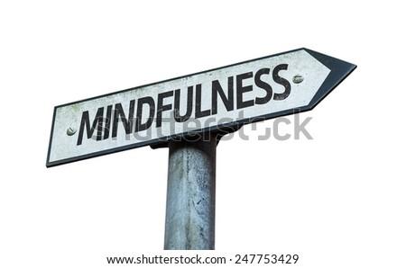 Mindfulness sign isolated on white background - stock photo