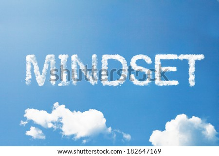 mindset cloud word on sky - stock photo