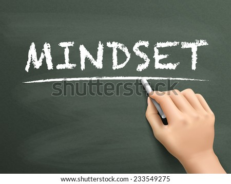 mindset word written by hand on blackboard - stock photo