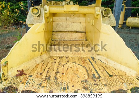 Mine car with ore in underground tunnel - stock photo