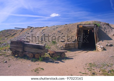 Mine entrance at the World Museum Of Mining, Butte, Montana - stock photo