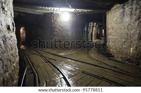 Mine railway in undergroud - stock photo