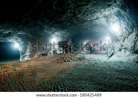 Mine work underground - stock photo