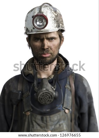 Mine worker with flashlight helmet