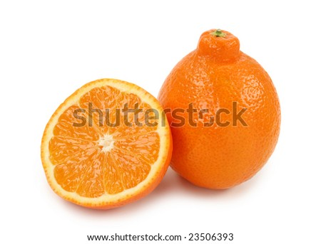 Mineola, a cross between a grapefruit and a tangerine on white background - stock photo