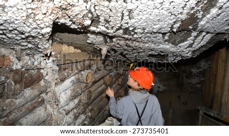 Miner in salt mine Wieliczka. - stock photo