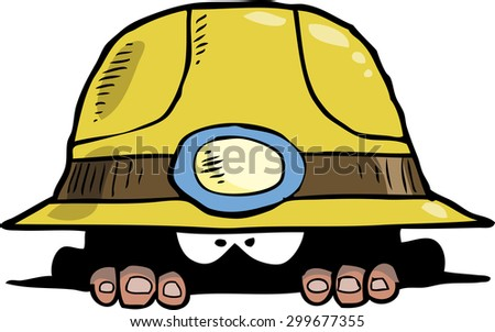 Miner peeps out of the hole raster version - stock photo