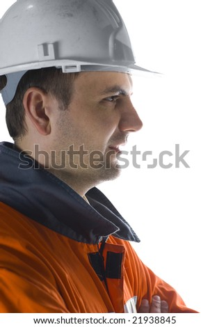 Miner profile isolated on white stock photo