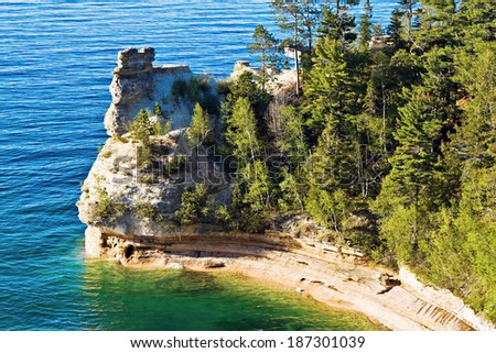 Miner's Castle - Pictured Rocks National Lakeshore - stock photo