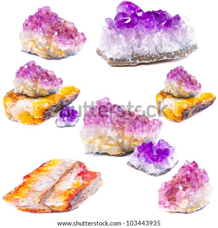 Mineral amethyst. Isolated on white background - stock photo